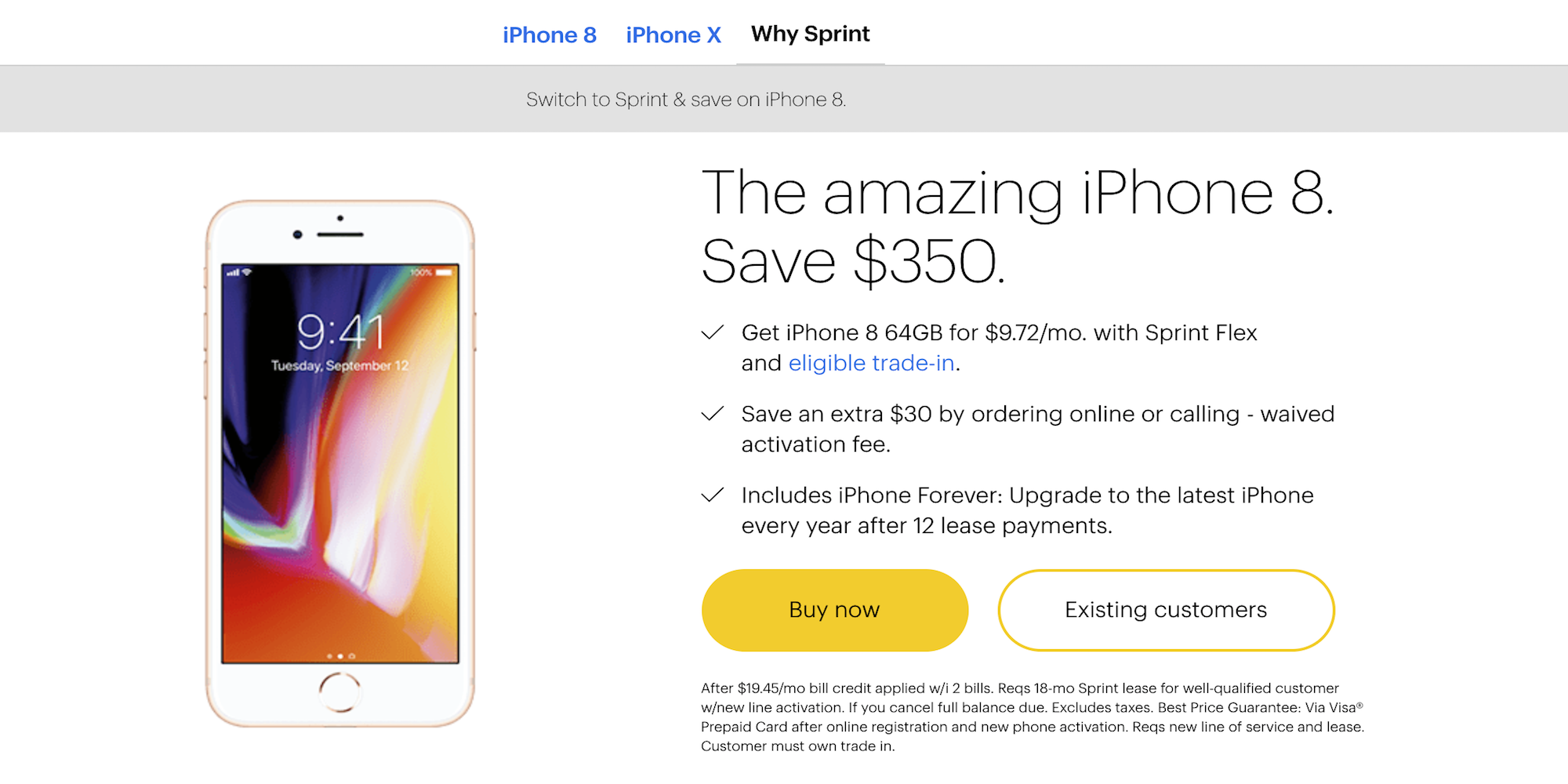 sprint upgrade deals for existing customers