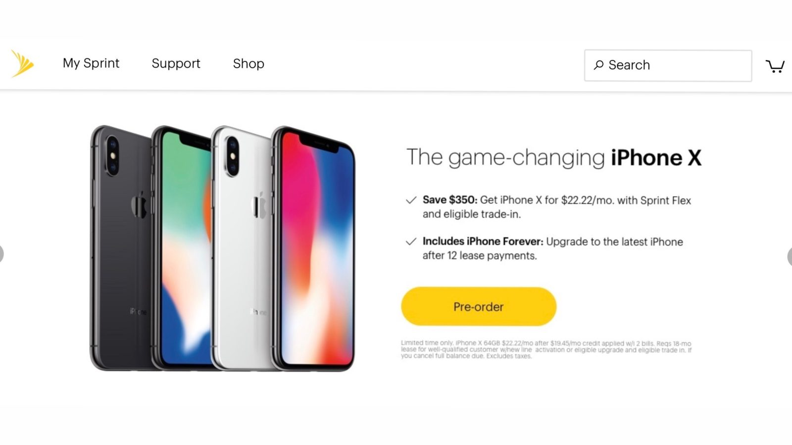 Sprint website still showing iPhone X shipping for launch