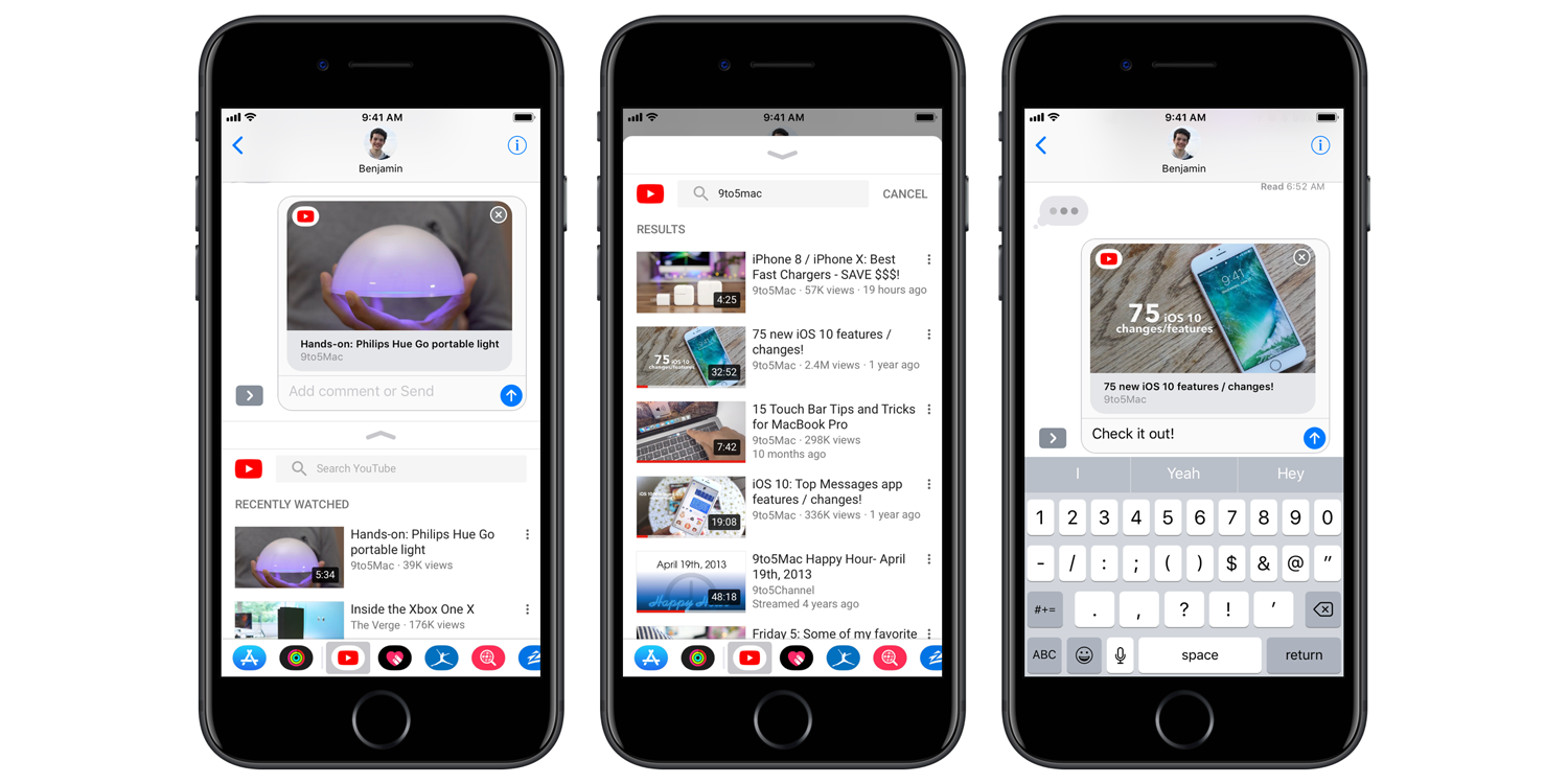Today's update to iOS YouTube app adds iMessage sharing - 9to5Mac