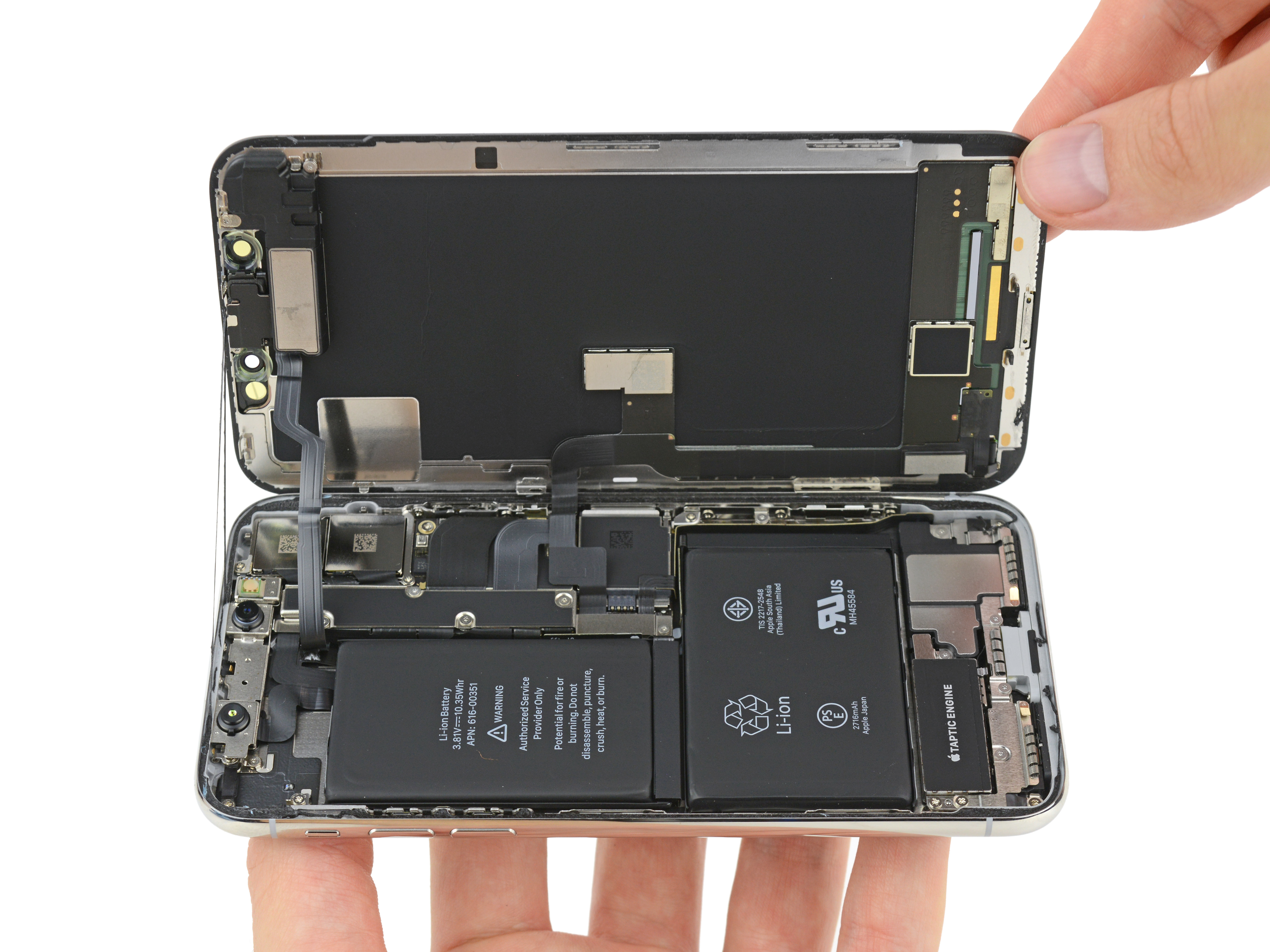 Iphone X Teardown Highlights Radical New Internals Two Cell Battery Pcb Layout Of Mobile Phone And Ipod Charger Circuit This