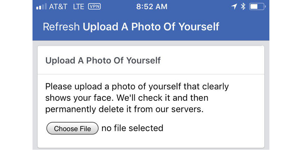 Facebook Asking Users To Upload A Face Photo Verify Identity When It Spots Suspicious Activity