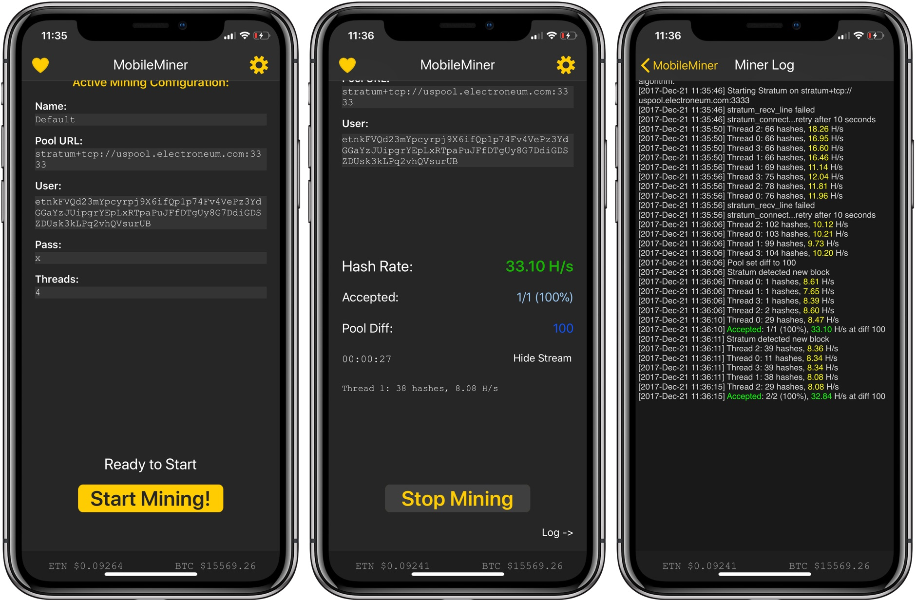 Hands-on: MobileMiner - how to mine cryptocurrency on an