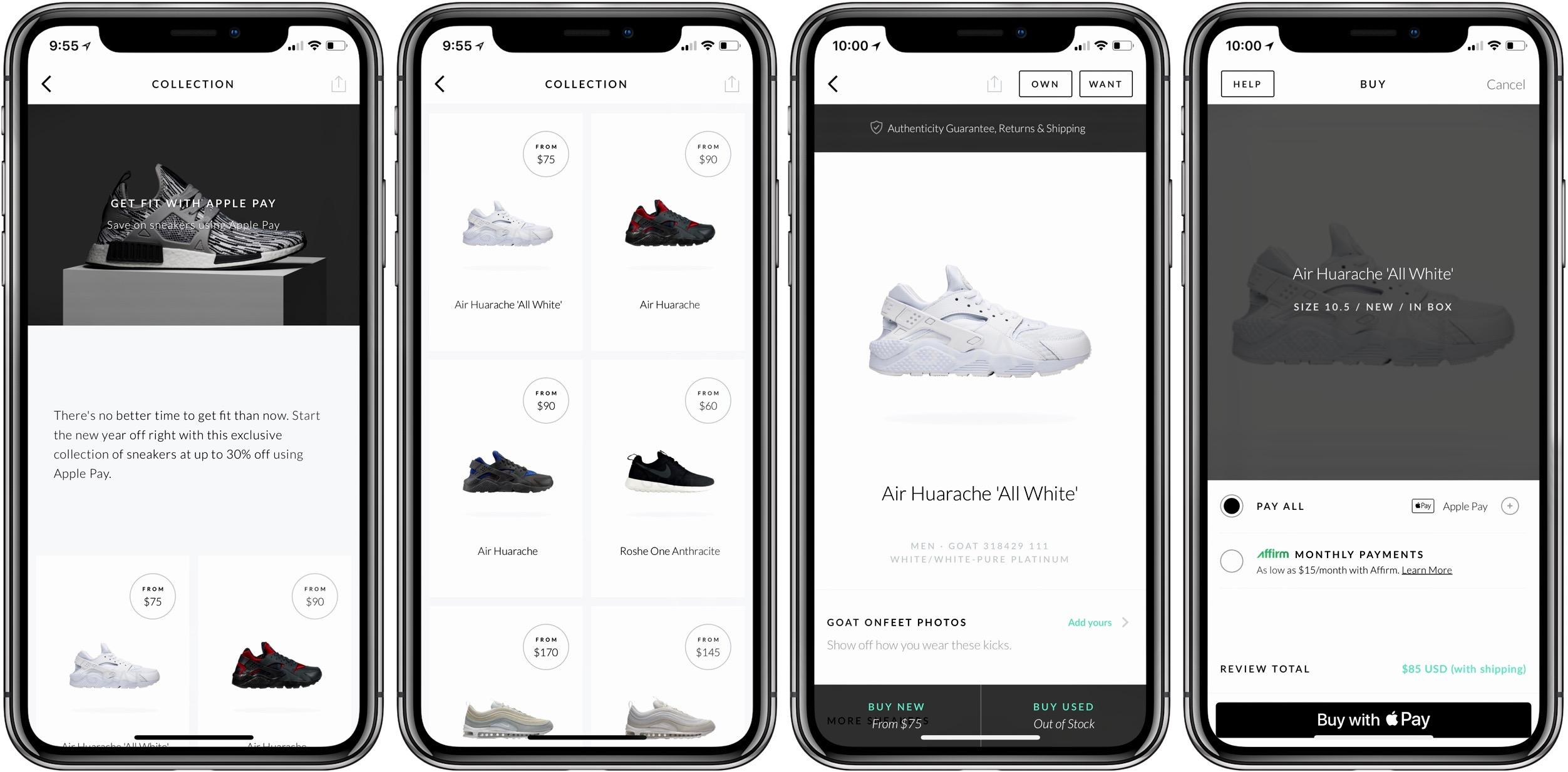 off sneakers through GOAT app