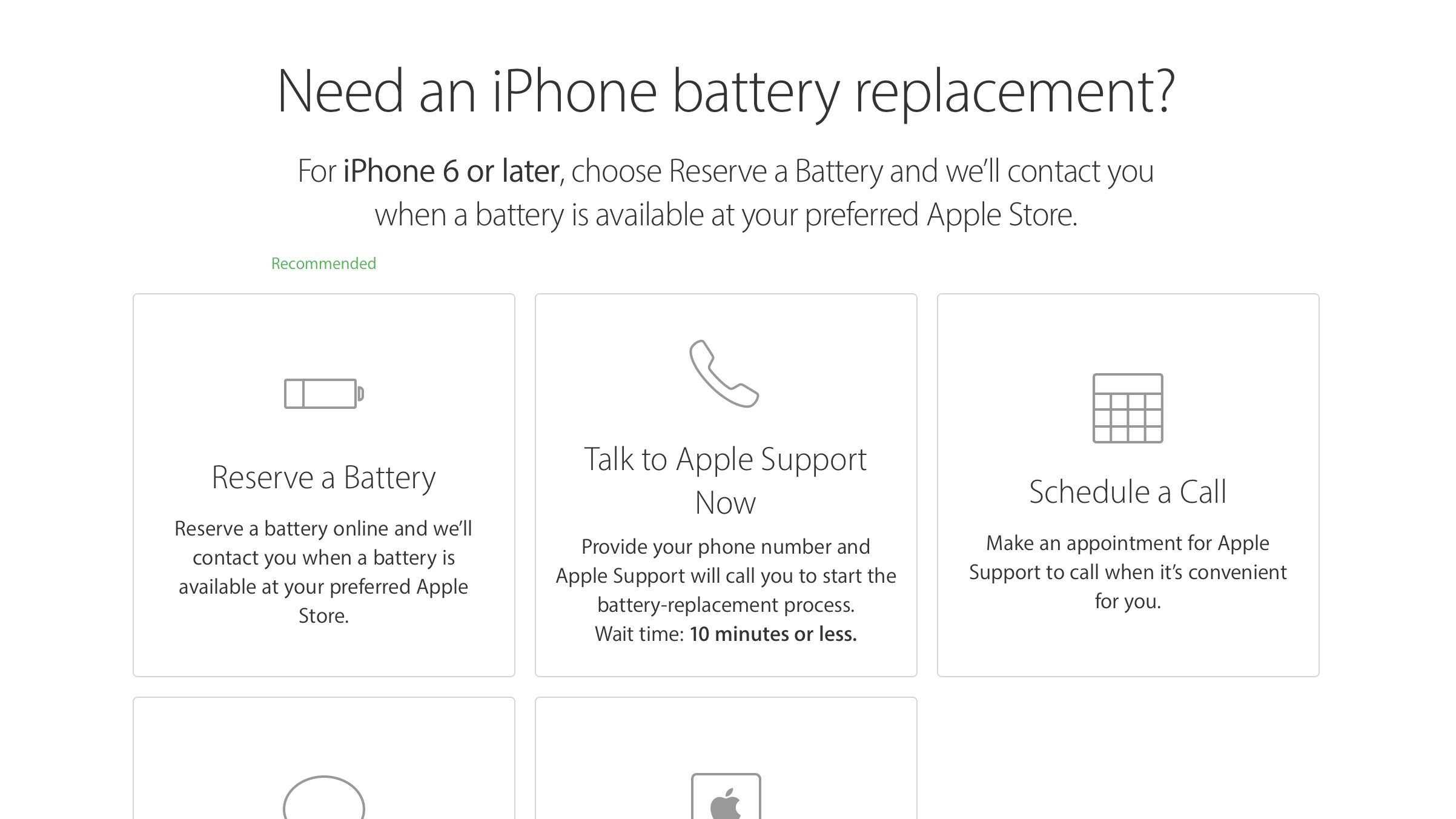 Apple offers online battery reservations in Canada, recommends
