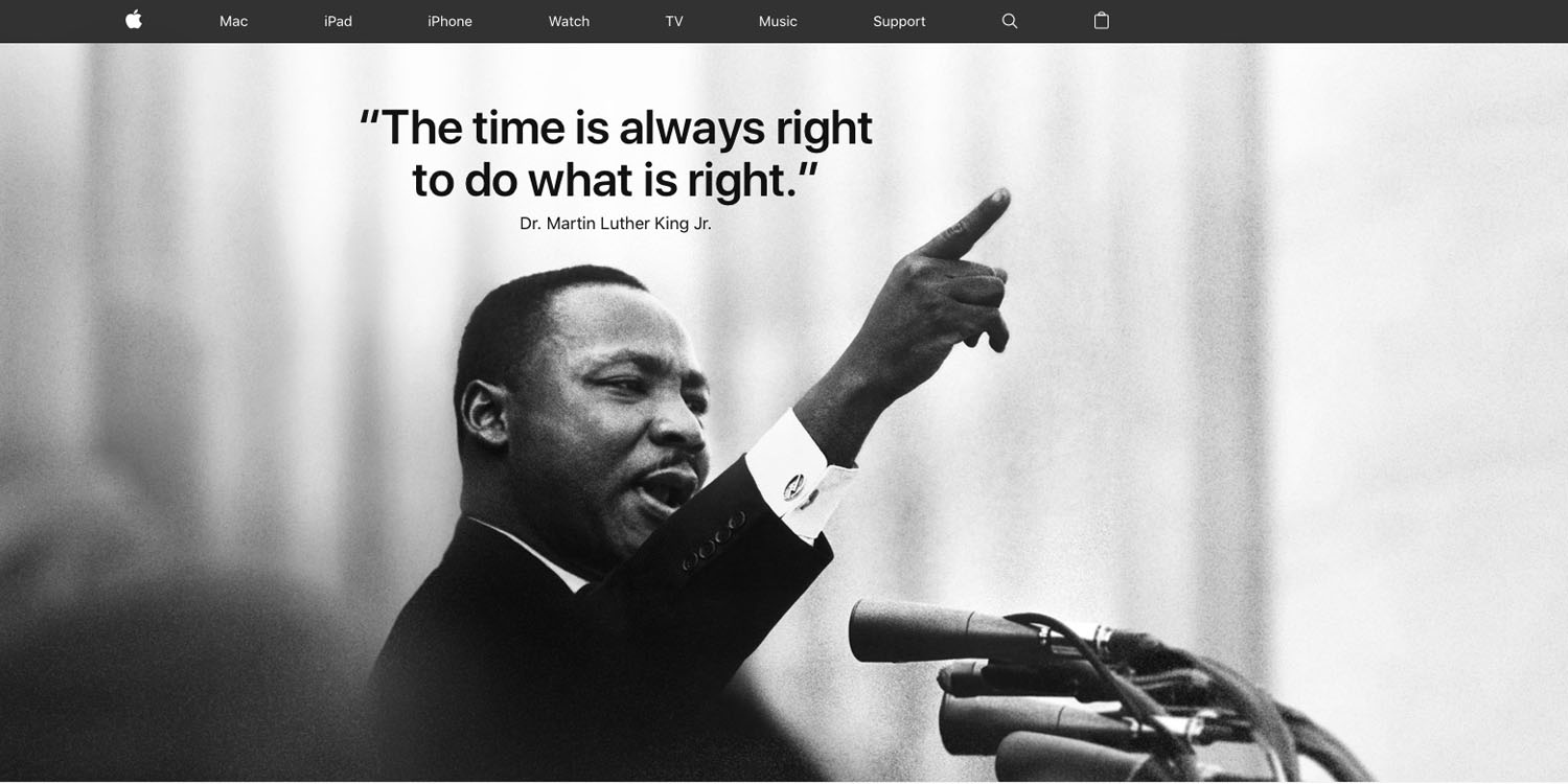 Apple Celebrates Martin Luther King Jr Day With Homepage Photo