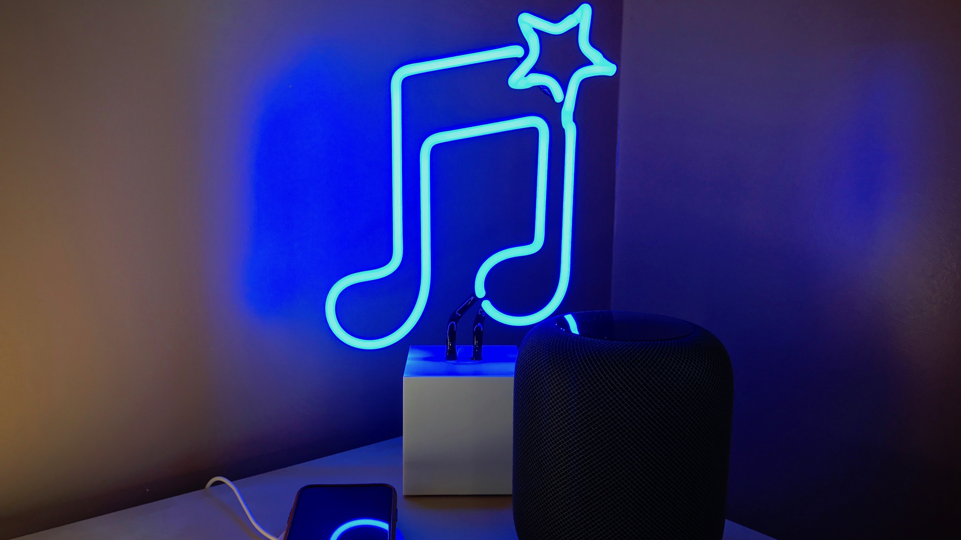 Rediscovering a love of music with HomePod, HomeKit, and neon
