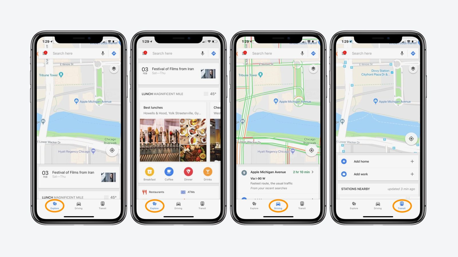 Google Maps iOS update adds new bottom bar with real-time transit ...