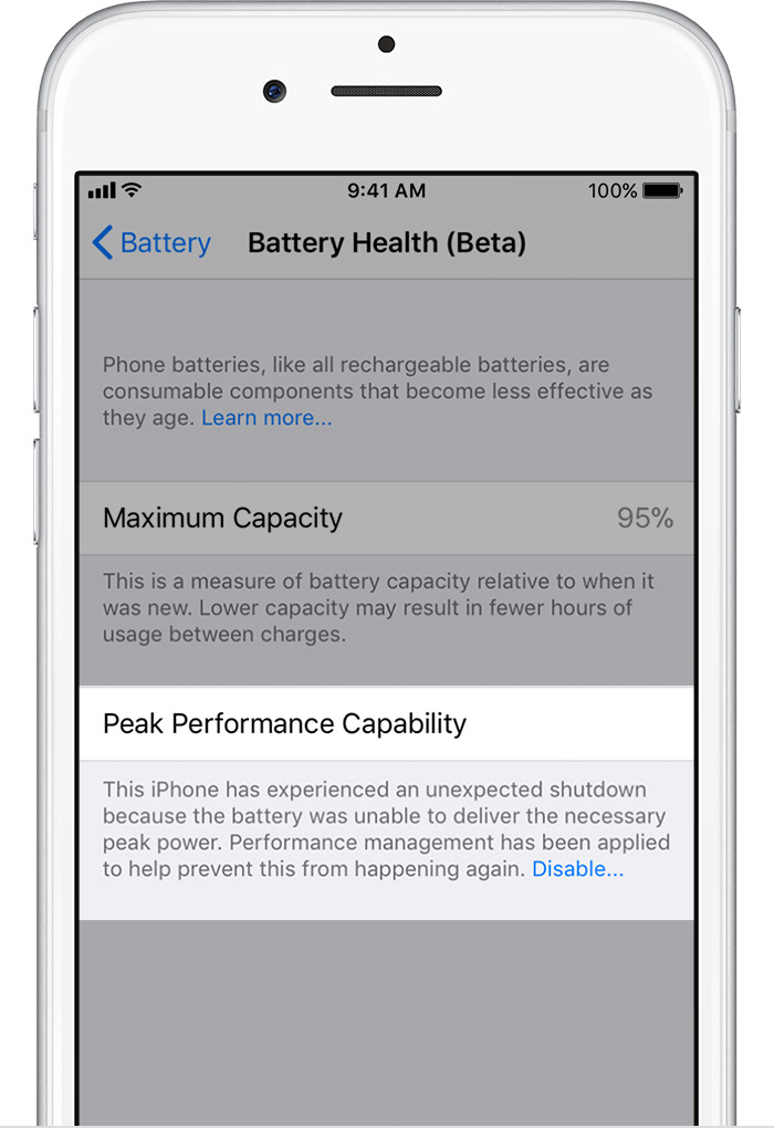 How to check battery health and disable iPhone battery performance
