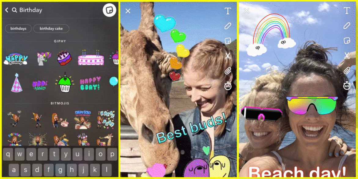 Snapchat update adds animated stickers with GIFs from GIPHY, new