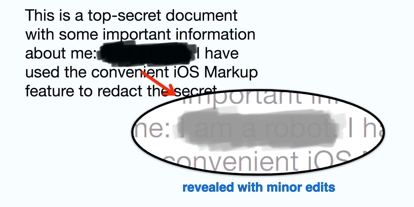 PSA: iOS Markup is not designed to be a redaction tool for