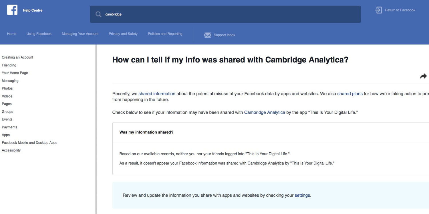 Here's how to check whether your Facebook data was shared with Cambridge Analytica