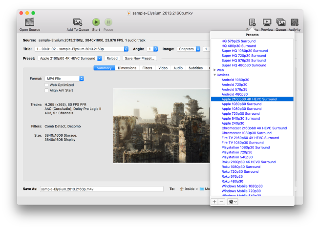 Video converter Handbrake updated with 4K presets, improved user