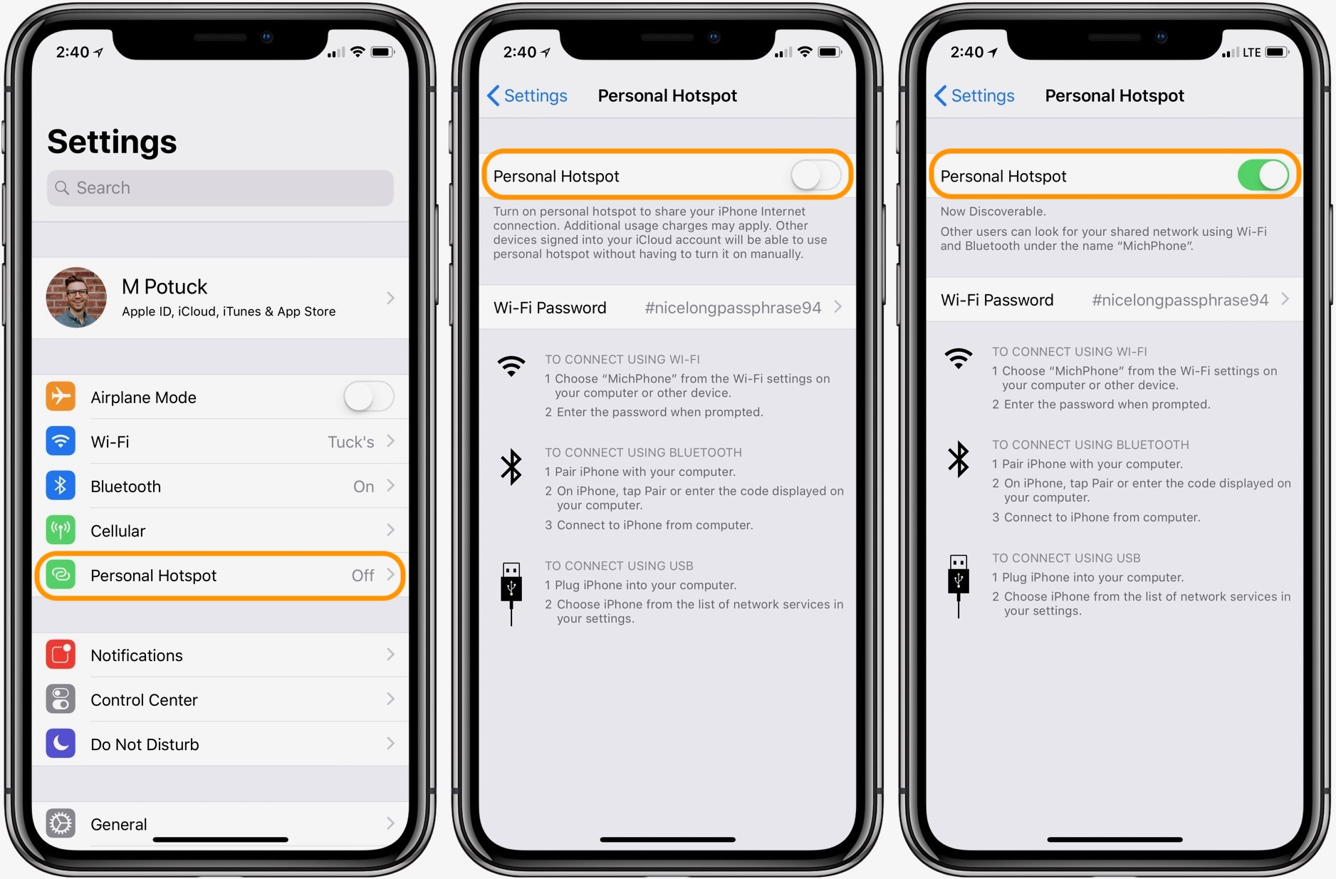 How do i use my personal hotspot on my iphone 6s