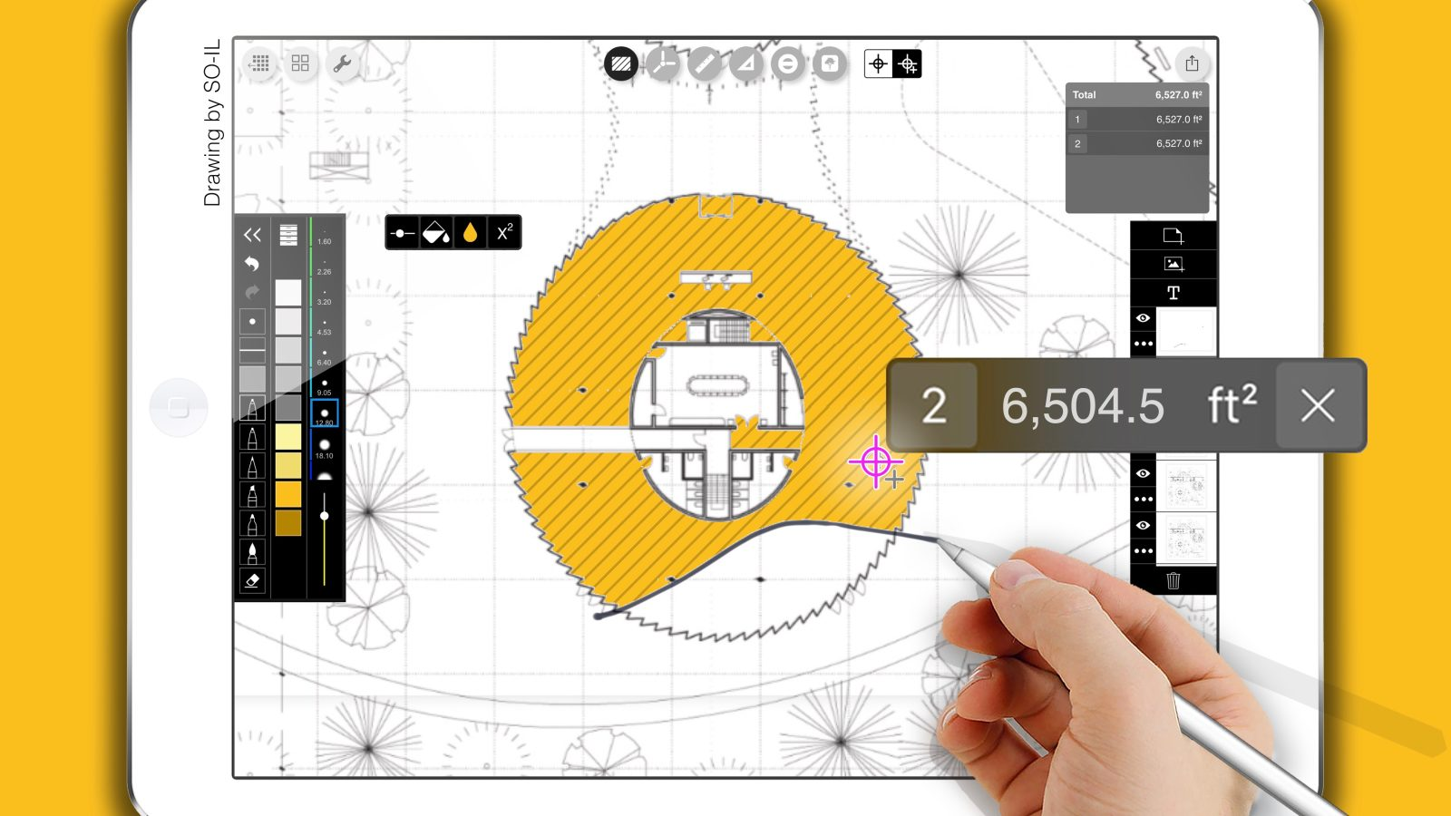 Morpholio trace sketch cad app lets you automatically calculate and label area size with ios