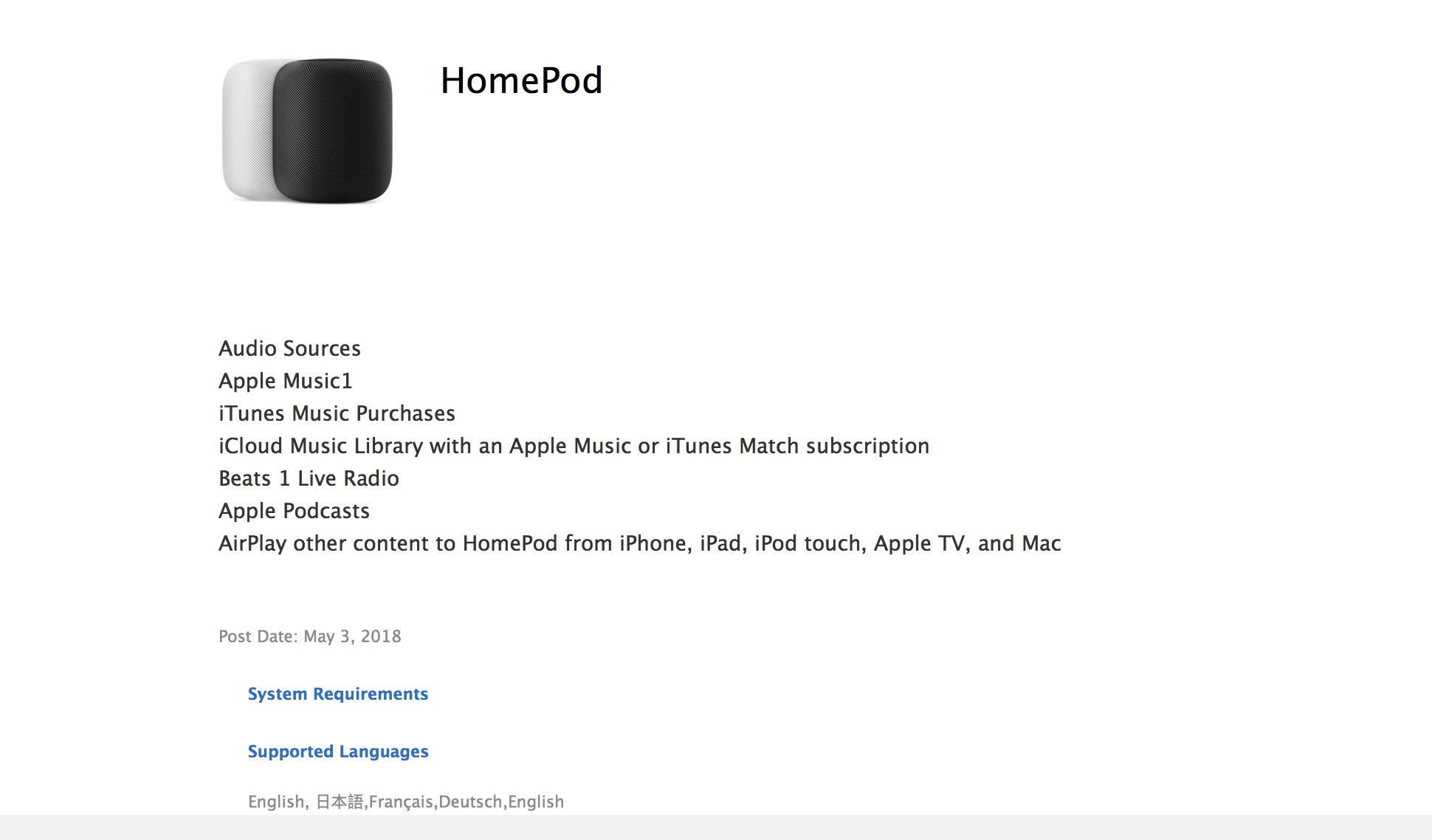Apple support document fine print suggests HomePod could debut soon