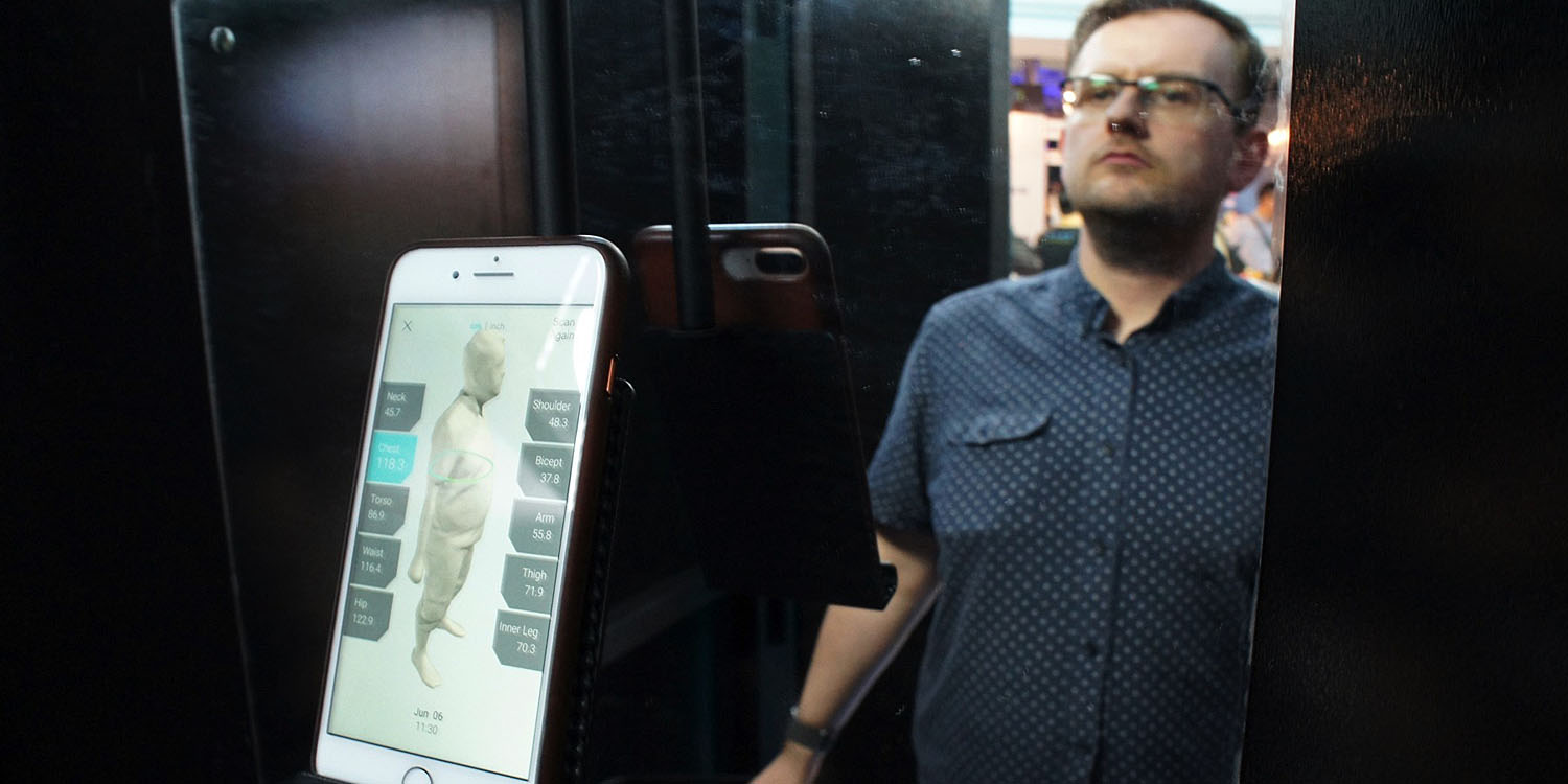 Changing room body scanner uses app to keep your body