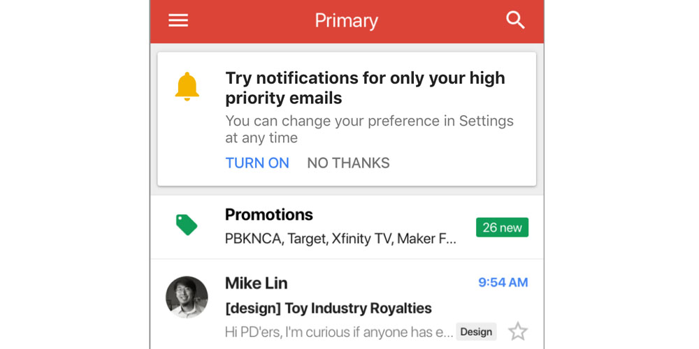 Gmail iOS app now uses AI to offer option of notifications