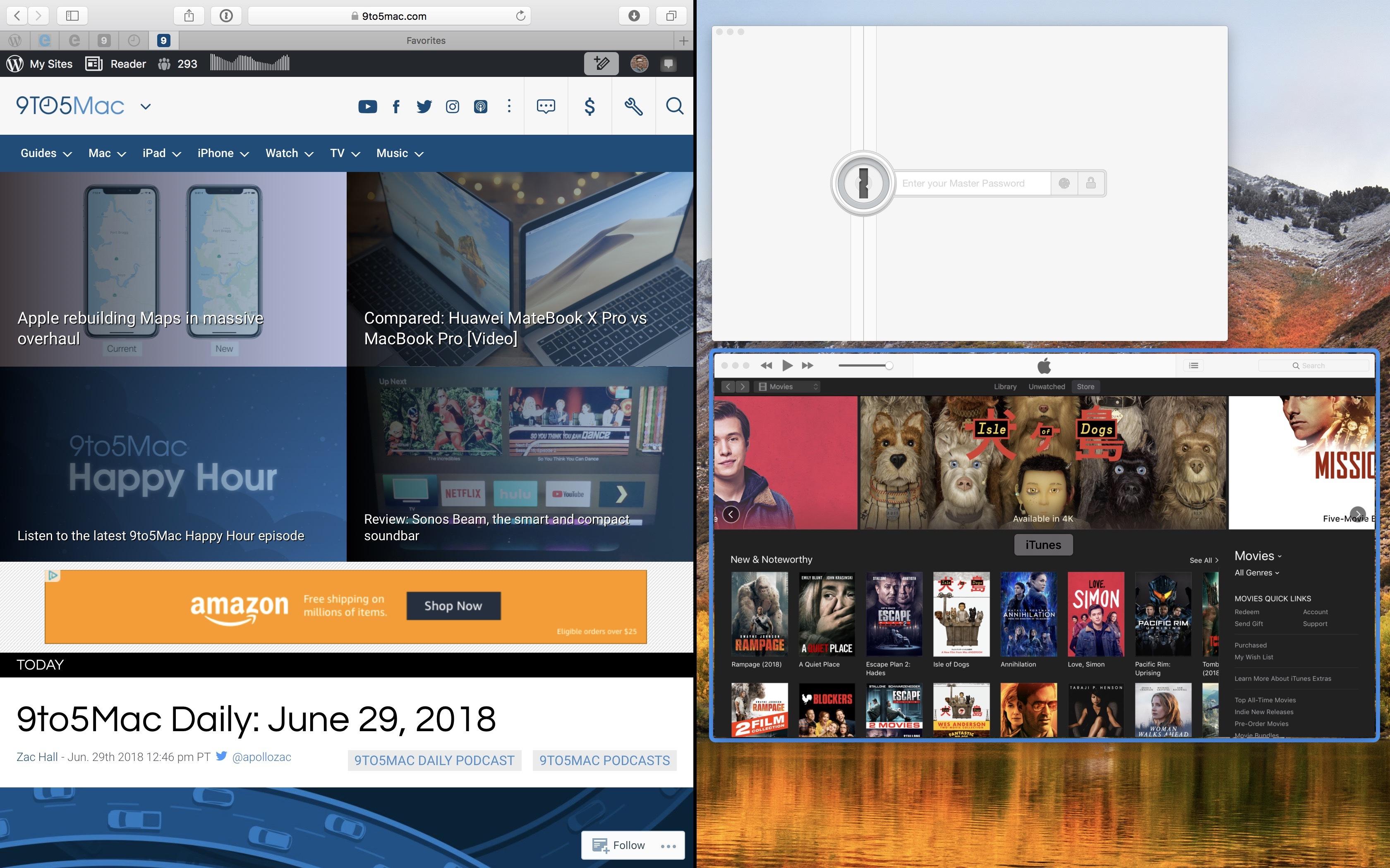 split screen on mac shortcut