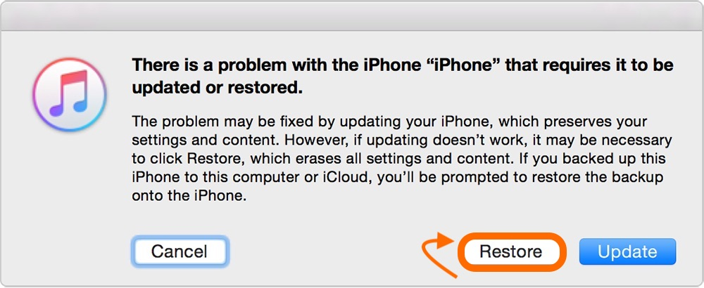How to restore iphone ios from itunes