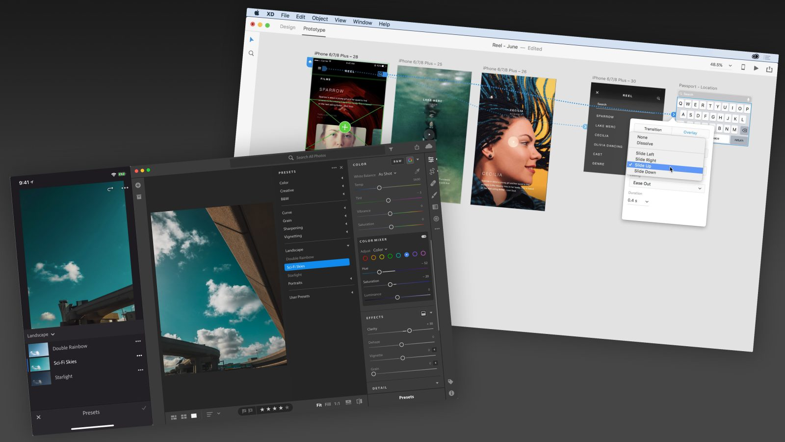 Adobe XD updated with overlays and fixed elements