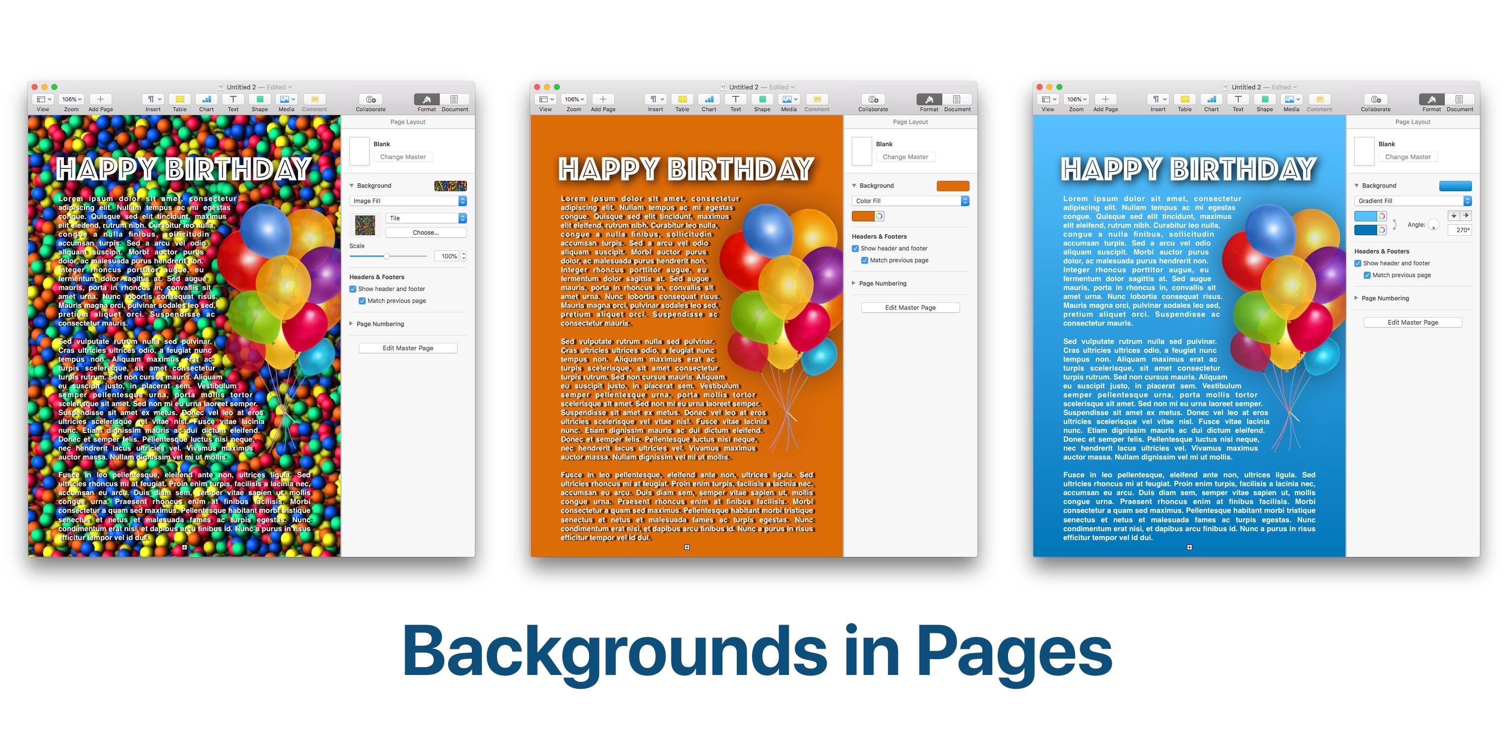 How to change background color in Pages