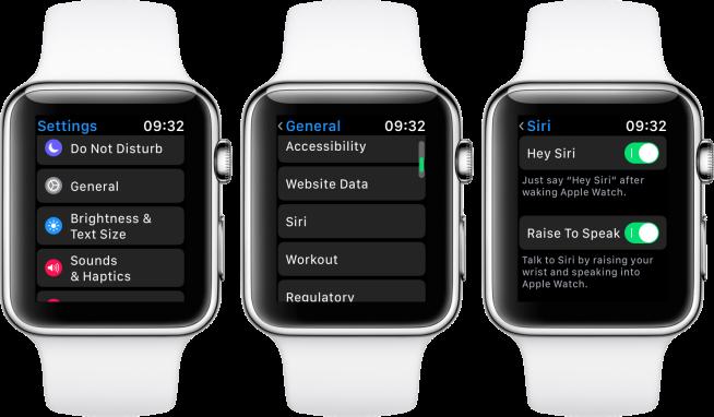 how to turn off siri apple watch