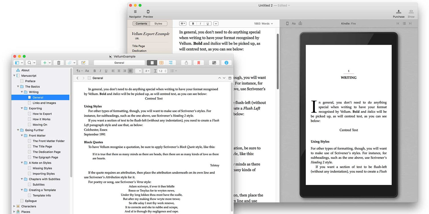 Writing app Scrivener makes it easier to format your book in Vellum