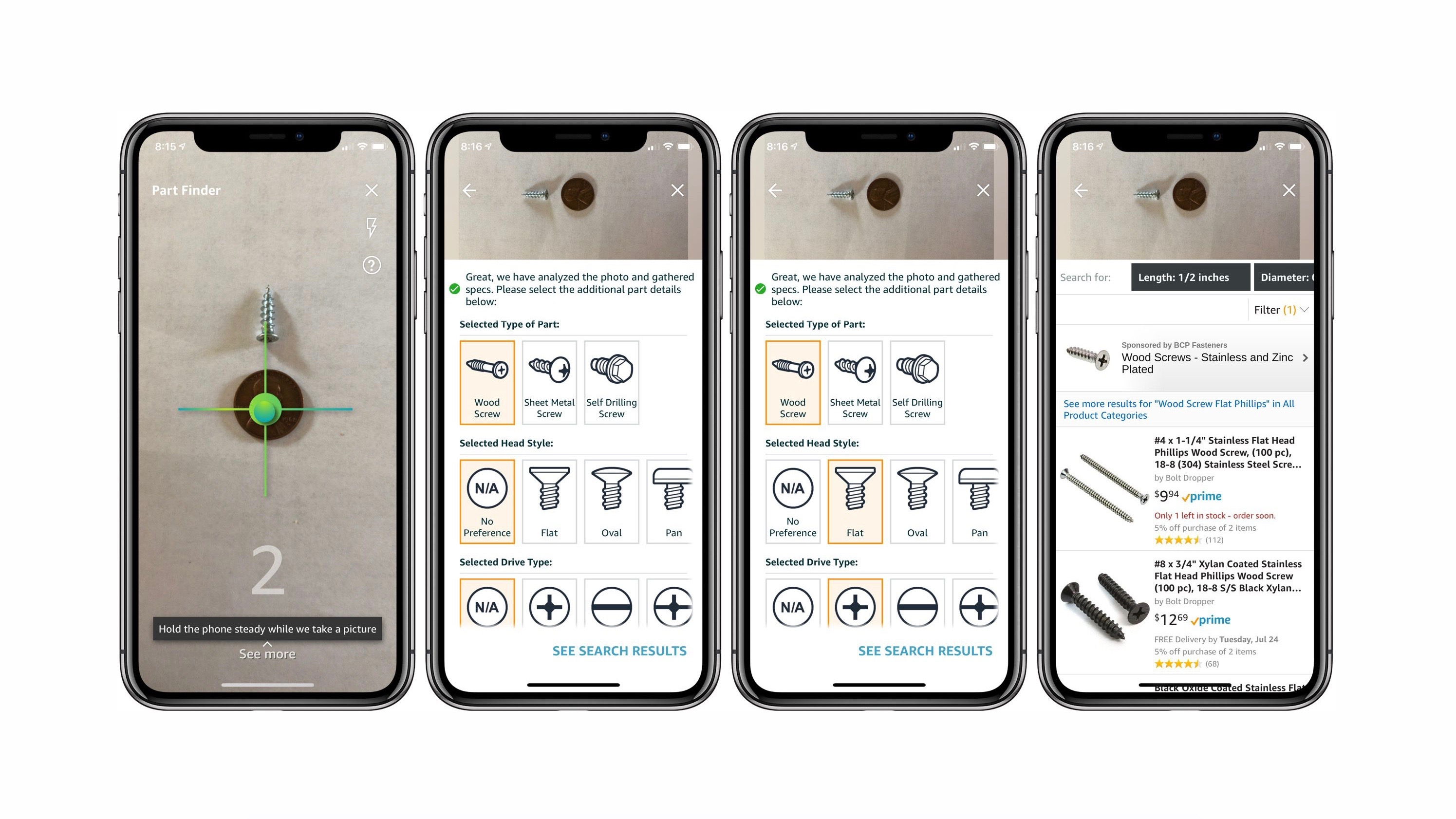 amazon iphone app adds ar part finder for identifying and buying small hardware like screws