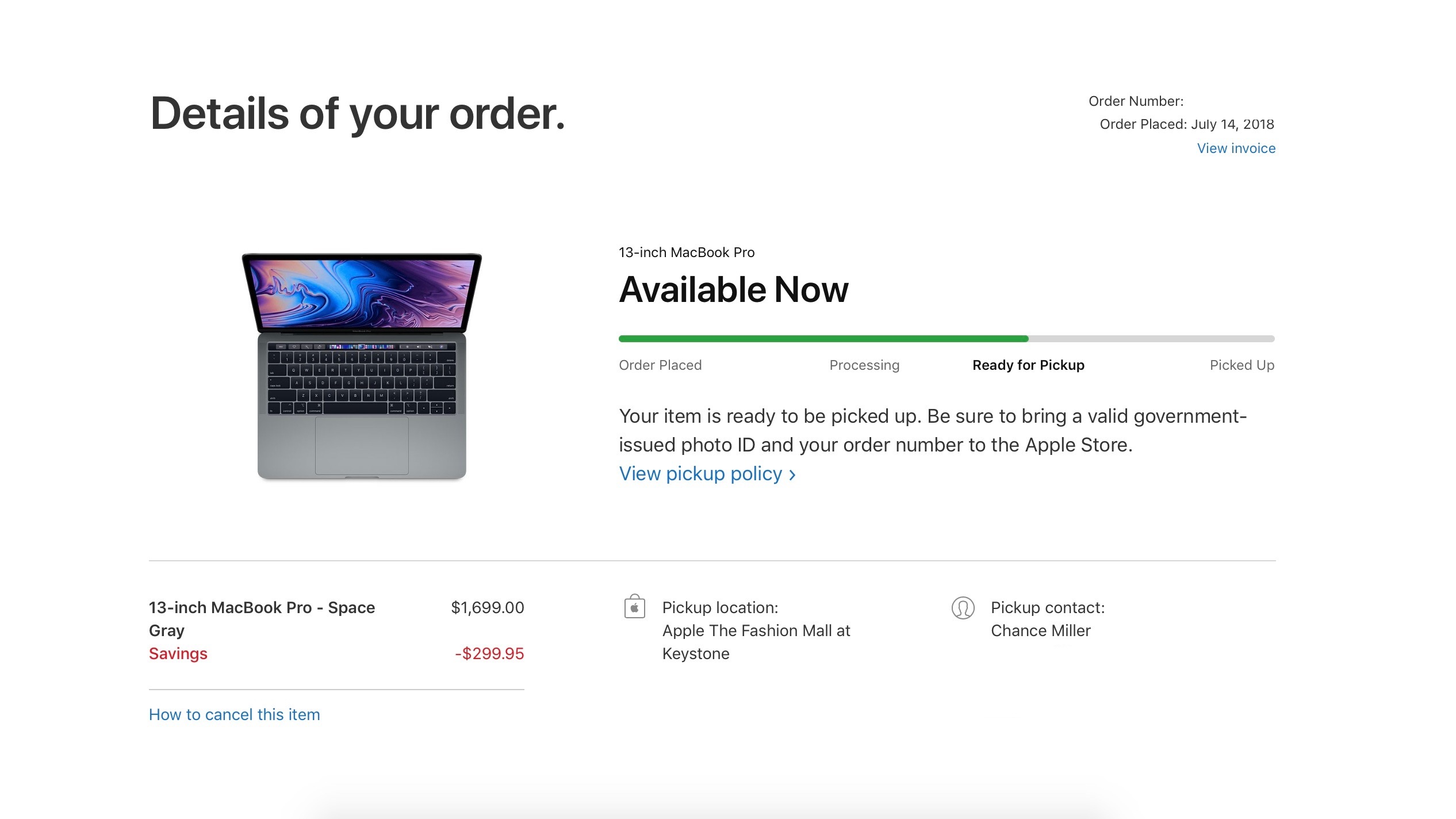 New MacBook Pro with Touch Bar models now available for same-day in-store pickup