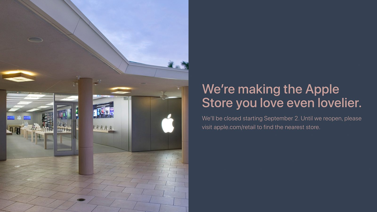 Renovations set to begin September 2nd at Apple's retail