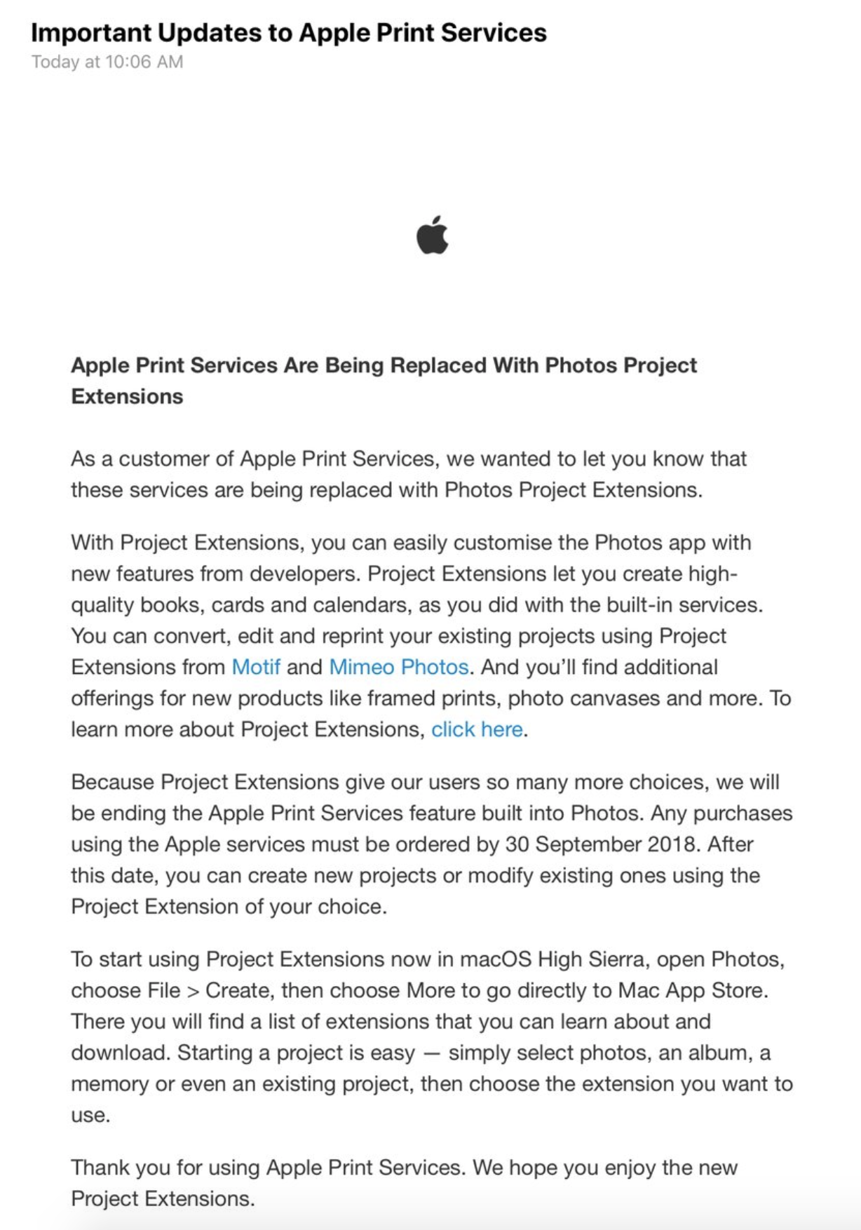 Apple alerting more customers about photo printing service