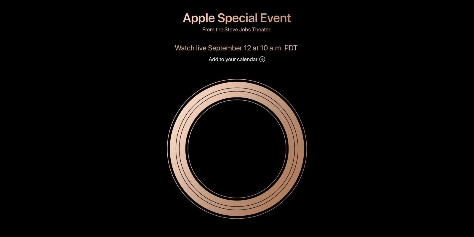 apple will livestream 2018 iphone event on september 12. Black Bedroom Furniture Sets. Home Design Ideas
