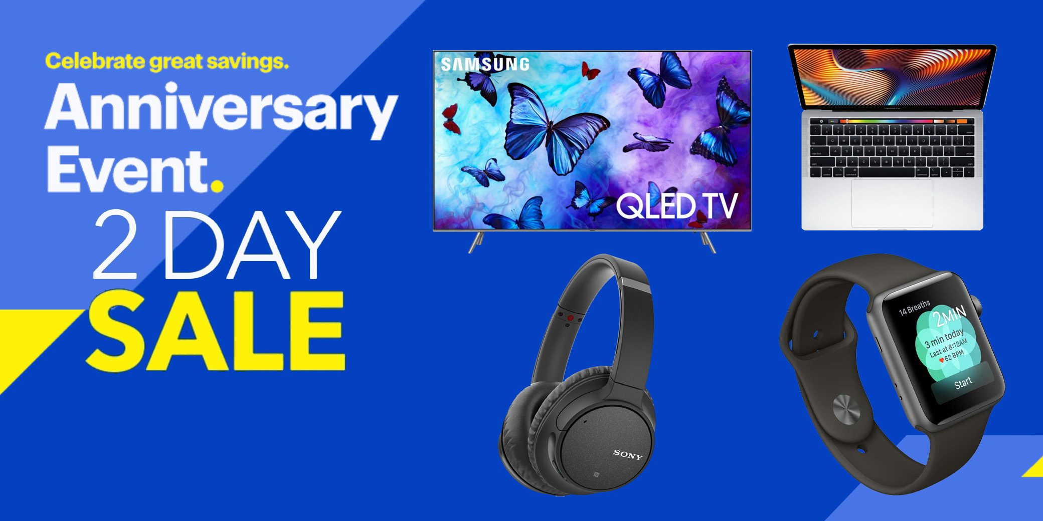 best buy 2 day anniversary sale up to 750 off macbooks apple watch tvs much more
