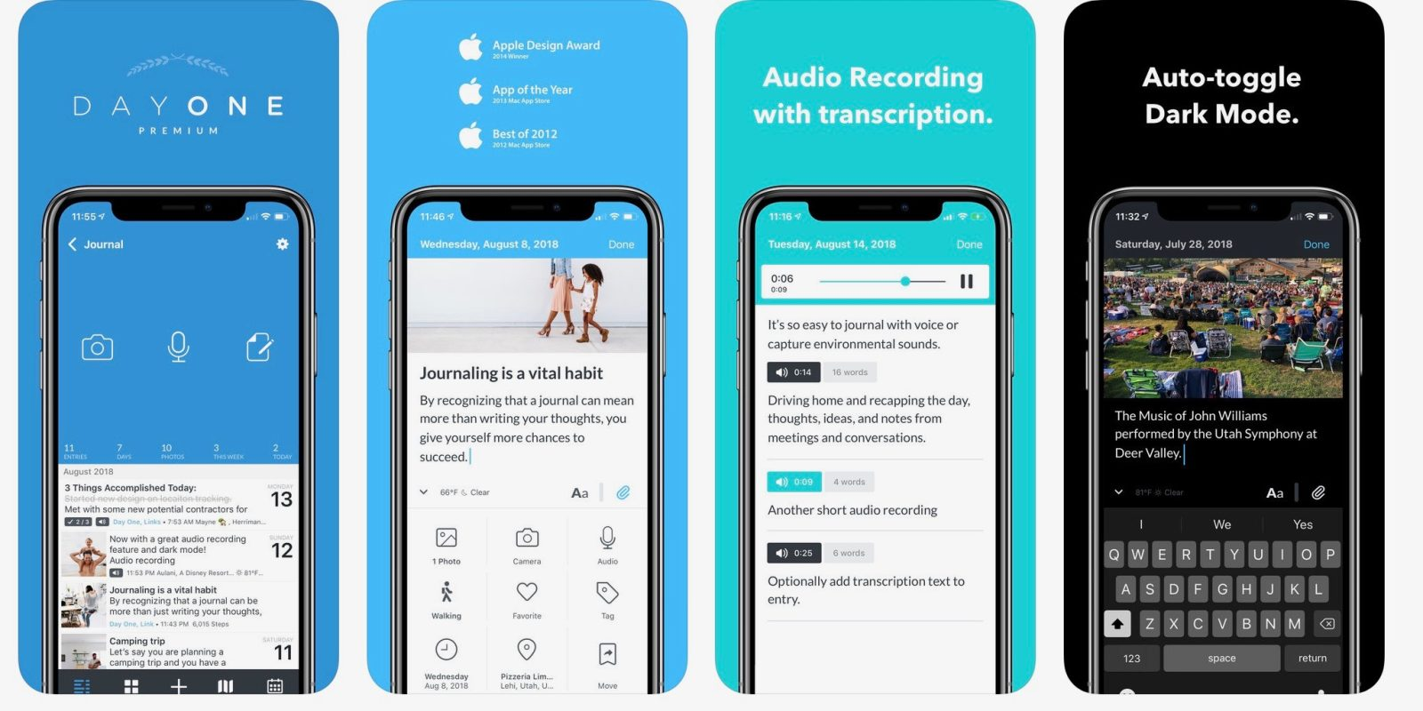 popular ios journal app day one updated w audio recording new