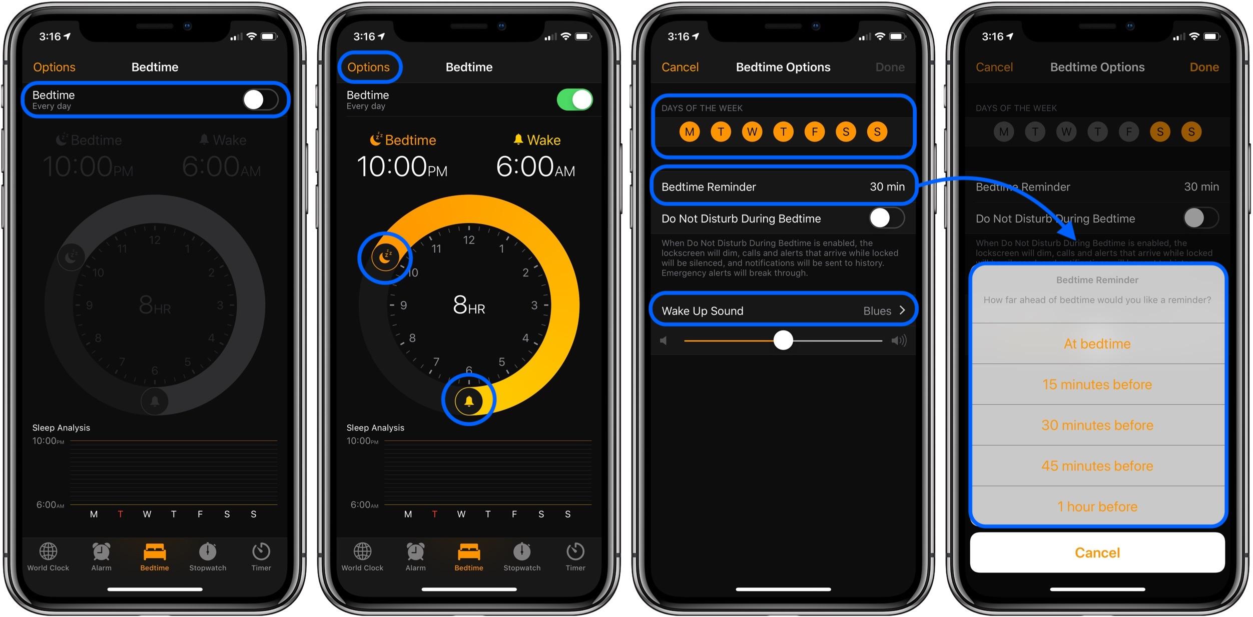 setup Bedtime on iOS