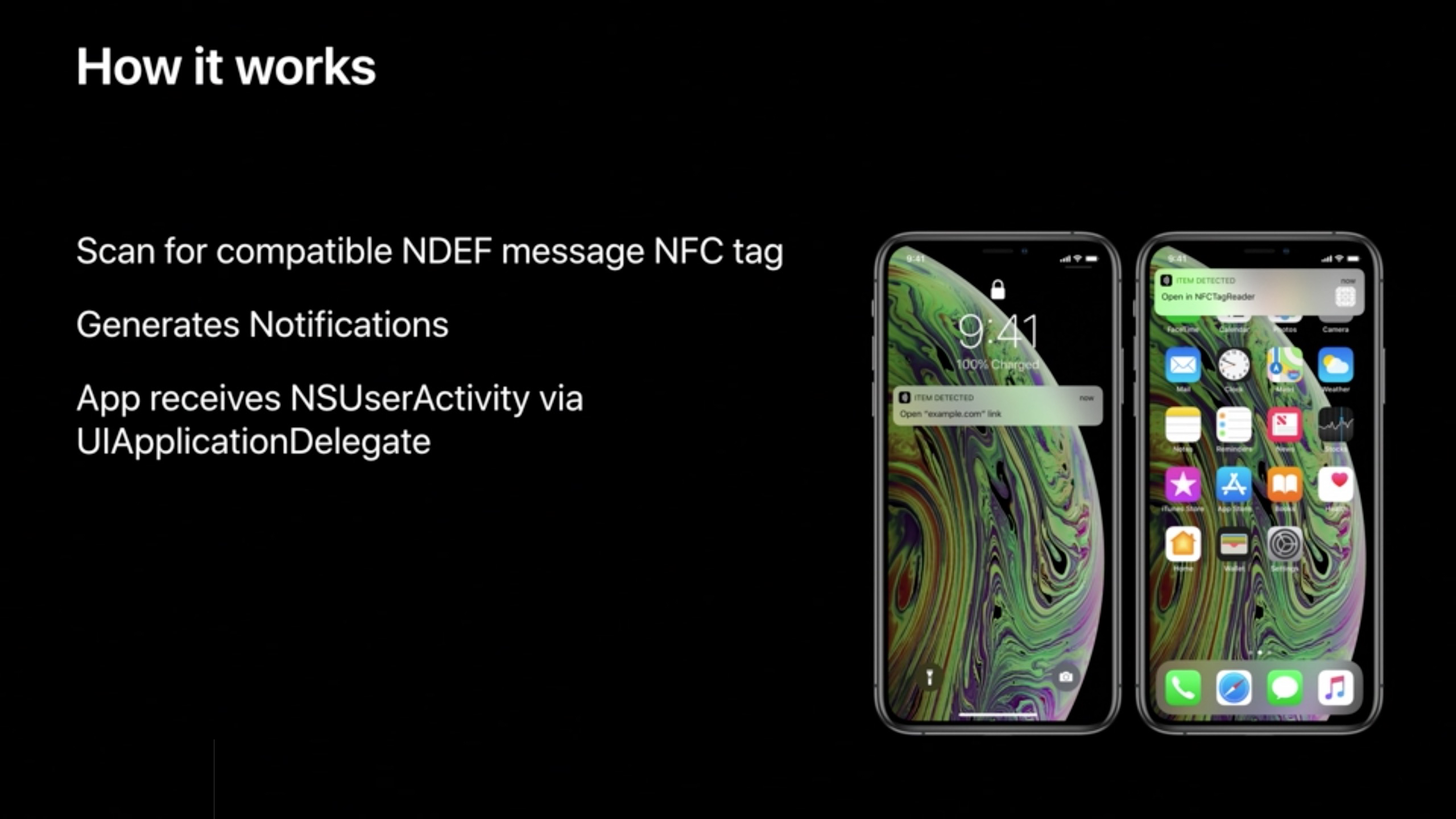 iPhone Xs and iPhone XR can read NFC tags without having to launch an app