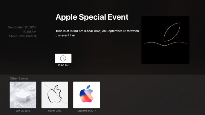 Apple Events app updated on Apple TV ahead of September 12 event