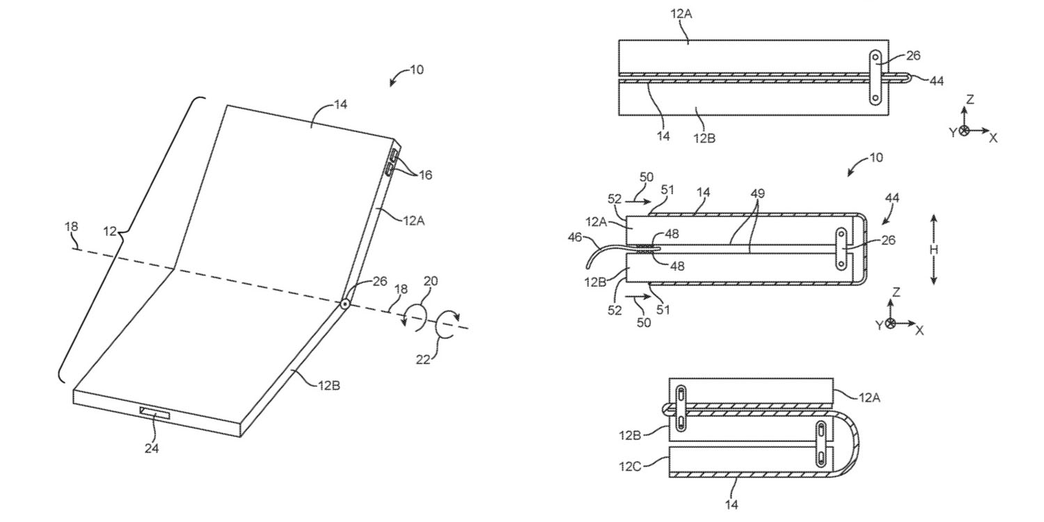 apple granted another patent on a folding iphone including a double fold design