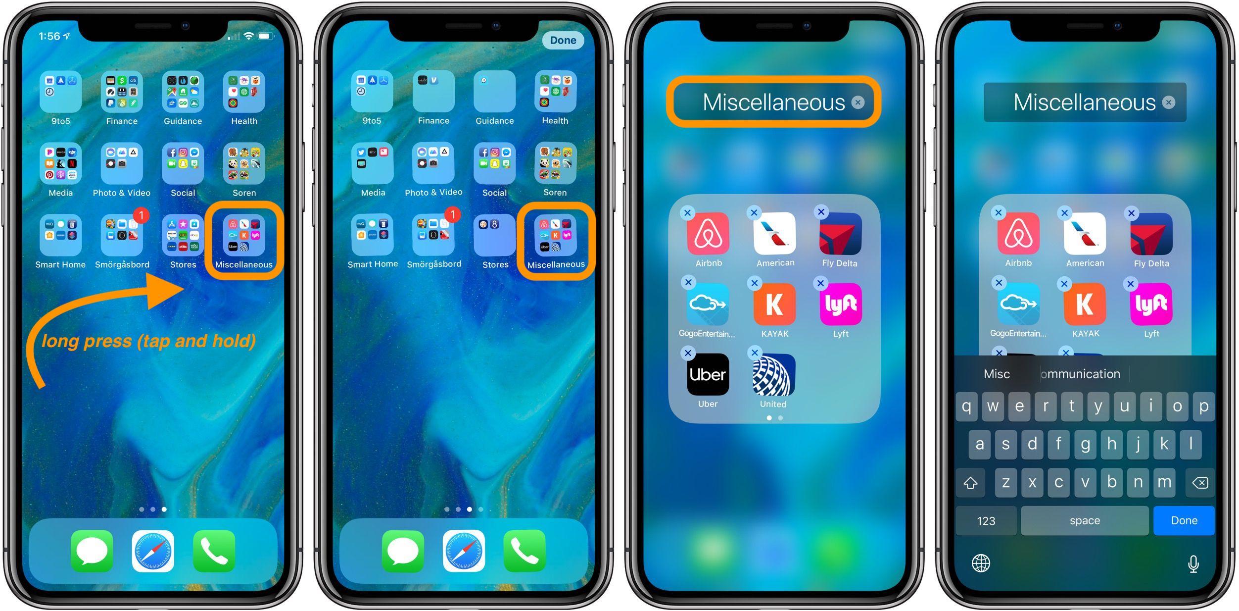rename folders on iPhone
