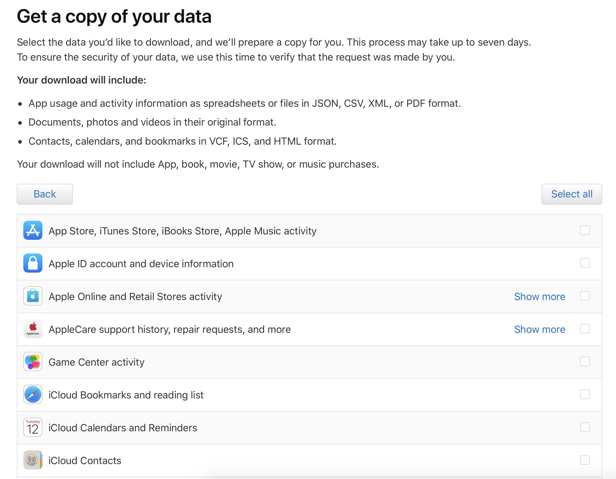 personal data from Apple