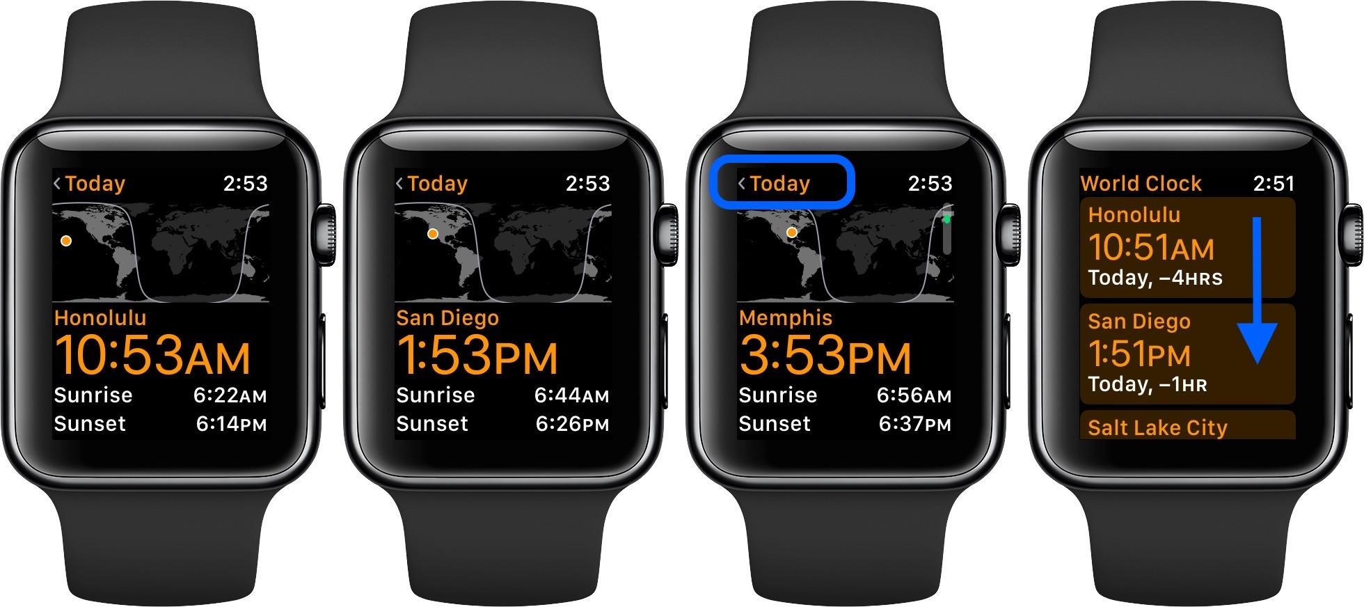 Apple Watch iPhone World Clock