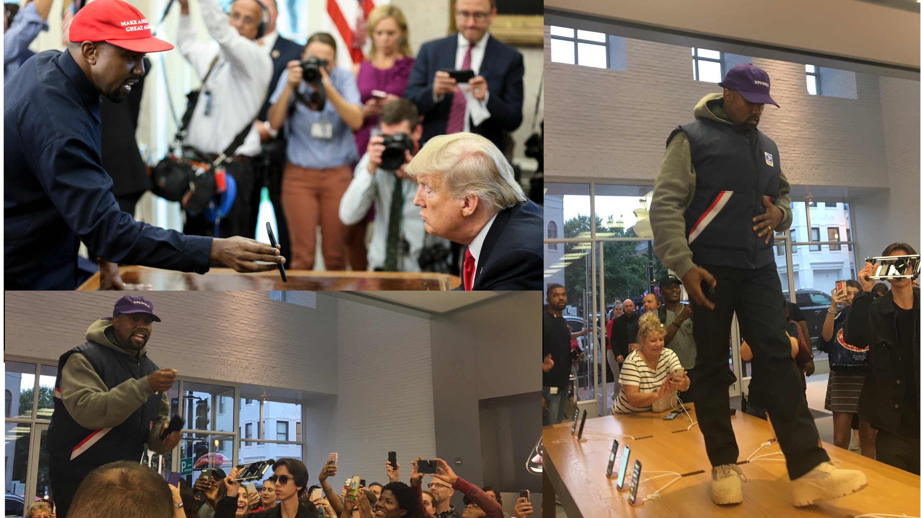 kanye west pitches trump on iplane built by apple delivers table top apple store keynote