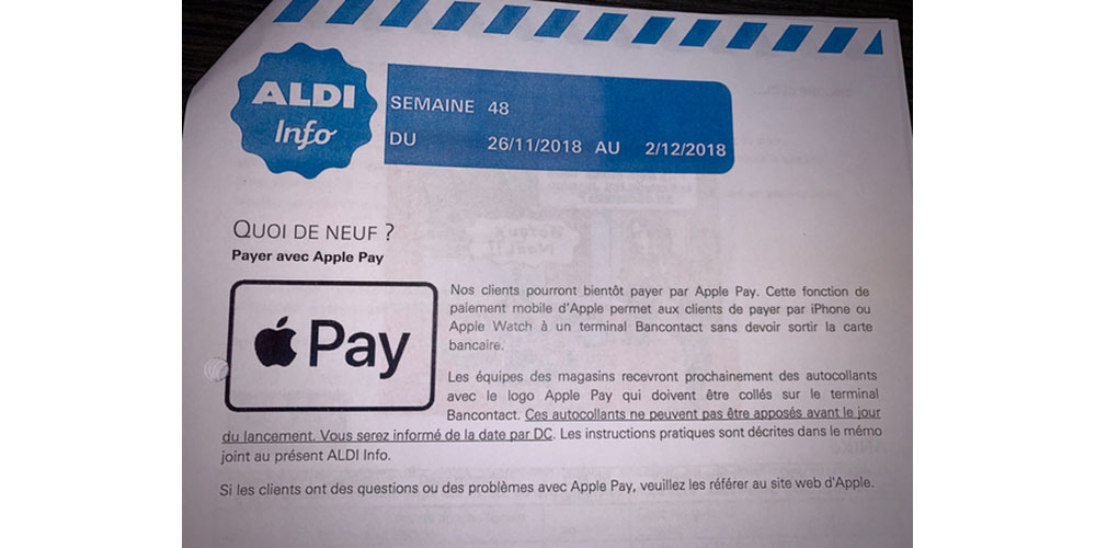 Carte Bancaire Fortis.Aldi Letter Provides Further Clue That Apple Pay Is Close To
