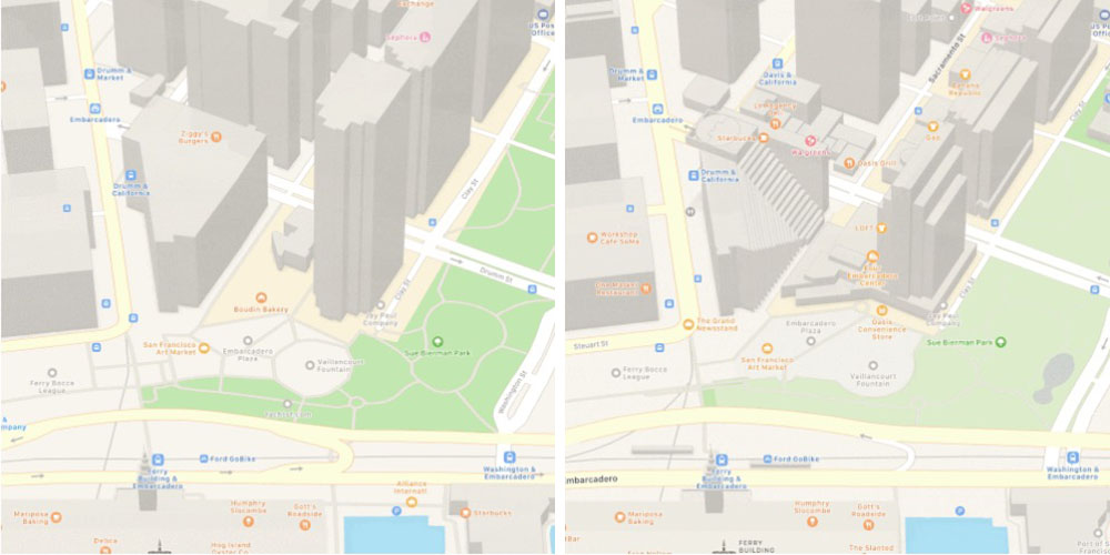 Apple Maps detail now beats Google Maps in buildings, vegetation and more