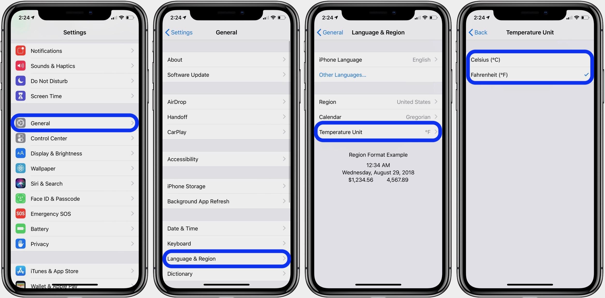 Fahrenheit Celsius on iPhone