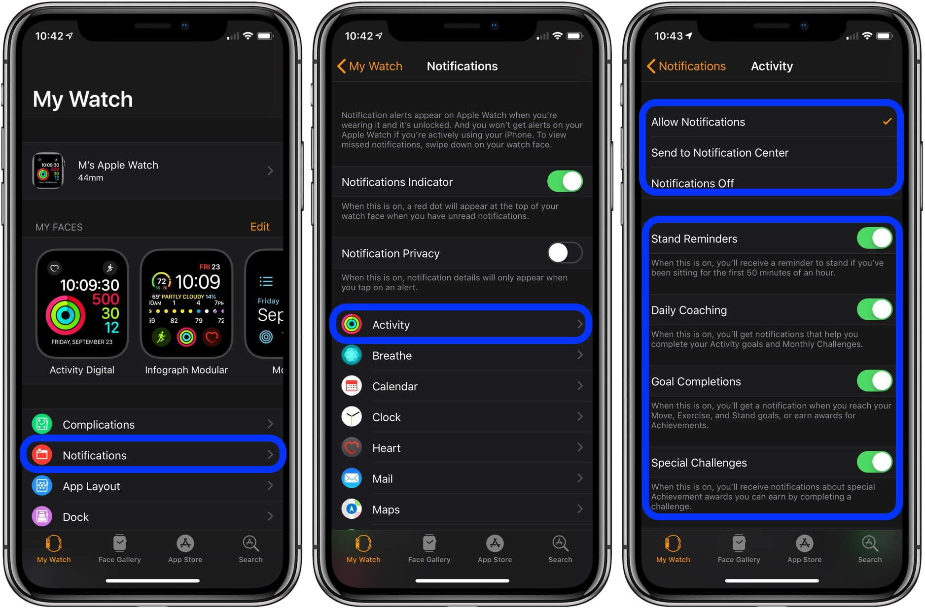 how to customize notification on Apple Watch