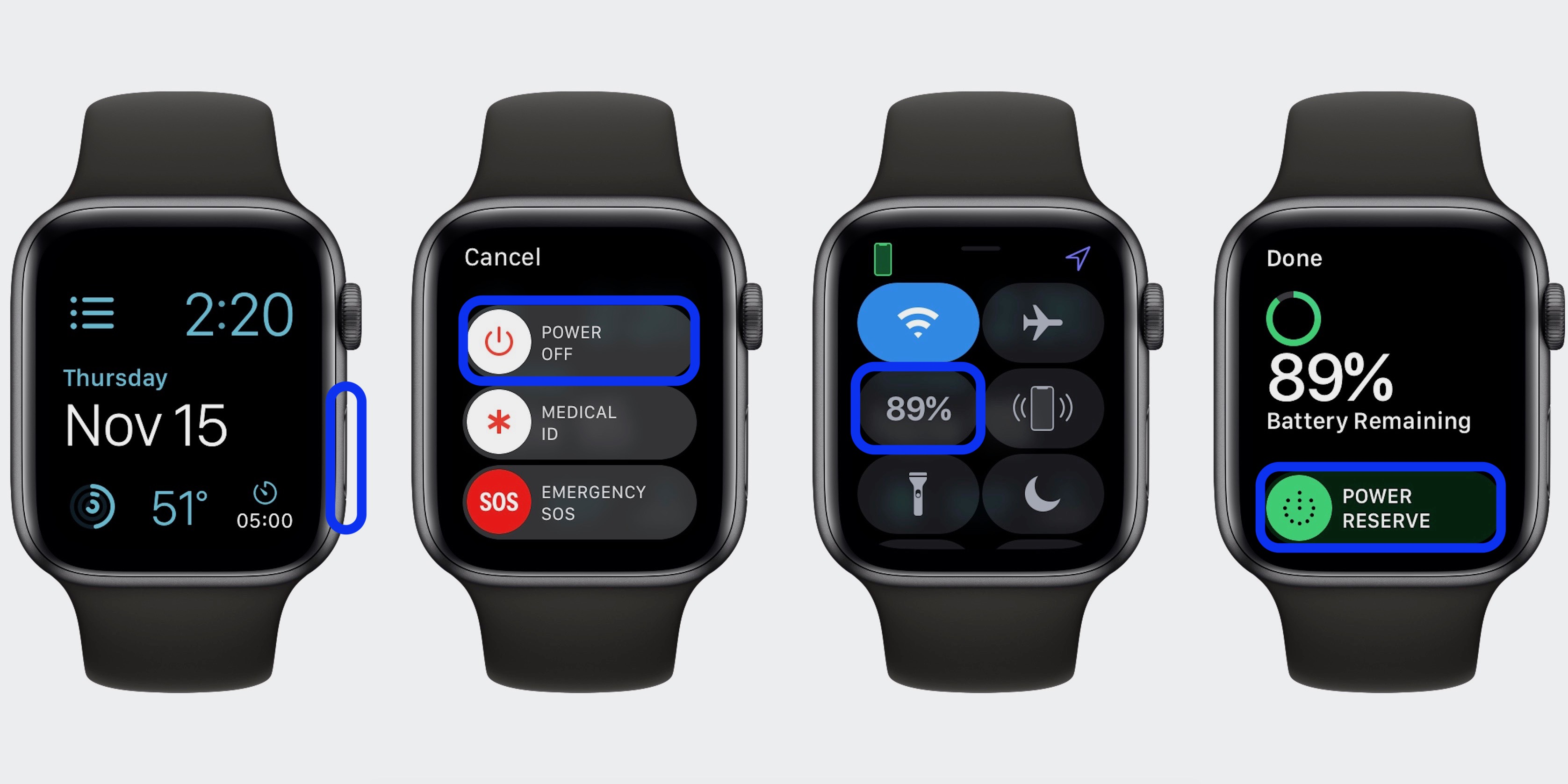 how to turn Apple Watch on and off