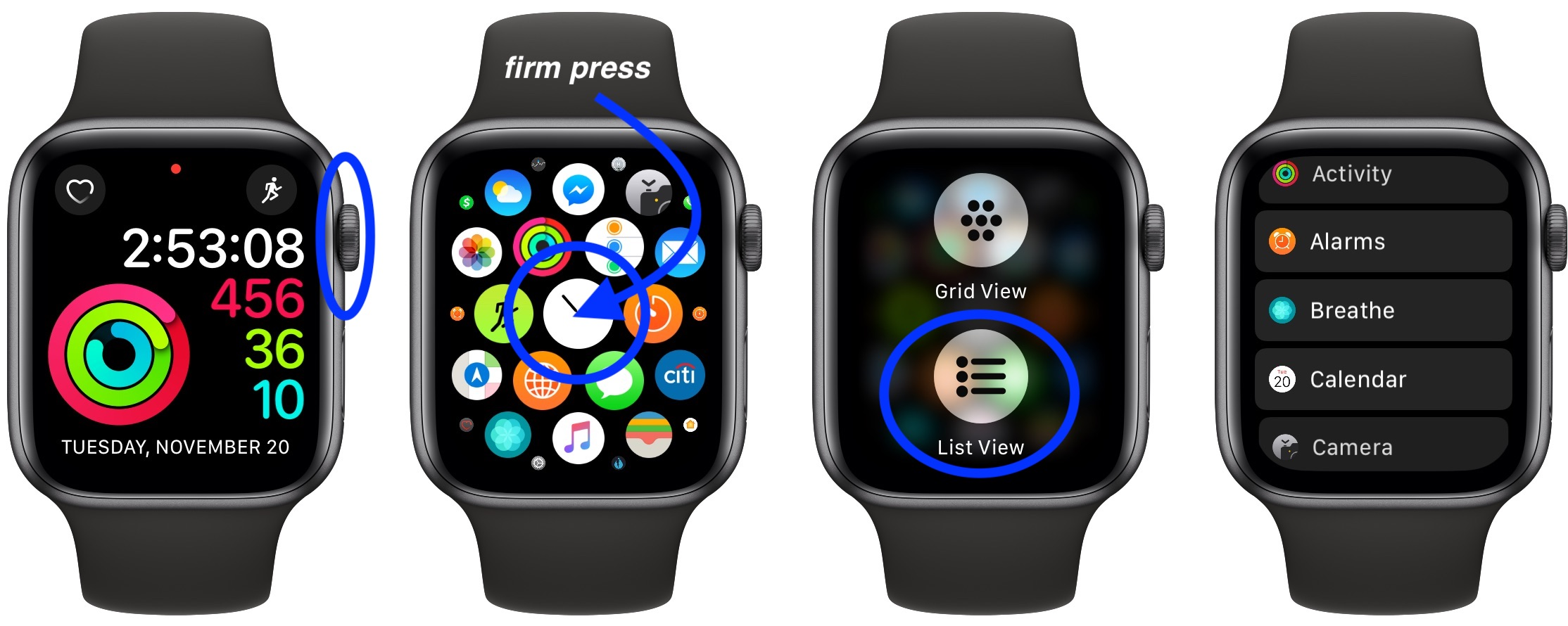 To switch to list view or grid view on Apple Watch
