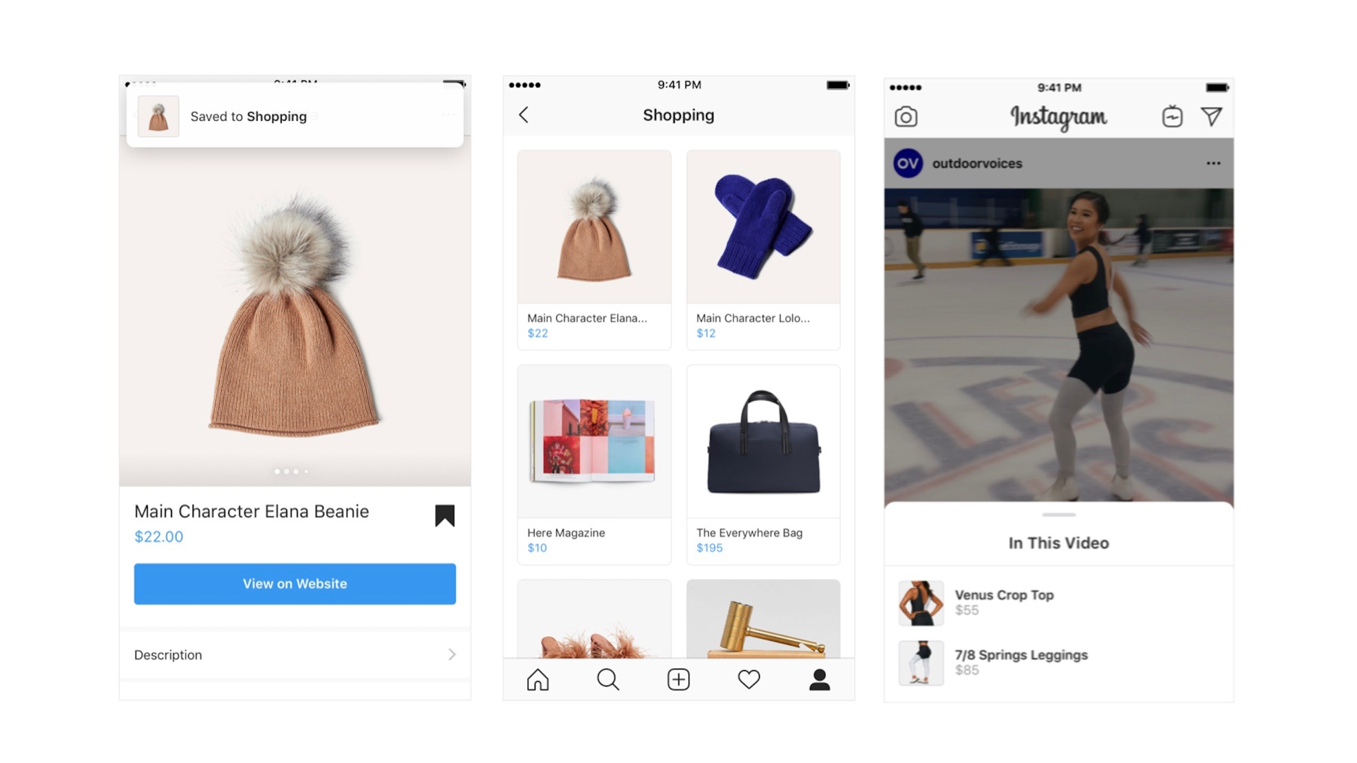 Instagram shopping expands with savable collections, business profiles, and feed videos