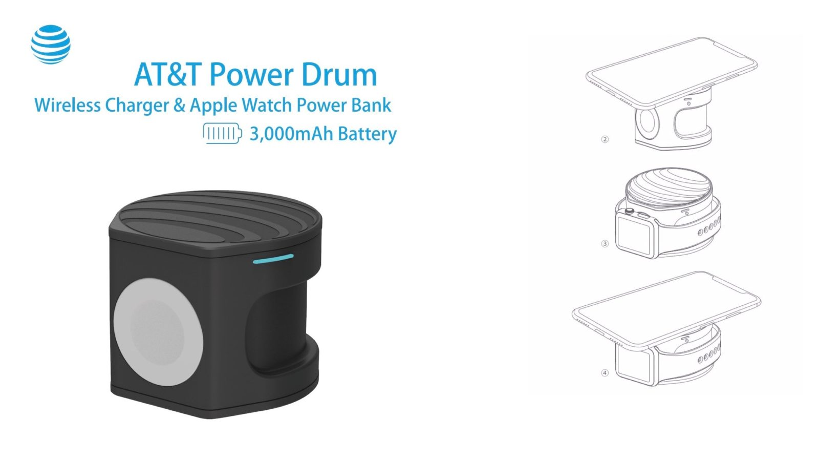 AT&T Planning 2-in-1 'Power Drum' Apple Watch & iPhone Wireless Charger with Integrated Battery
